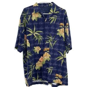 Tommy Bahamas Silk button down hibiscus shirt
